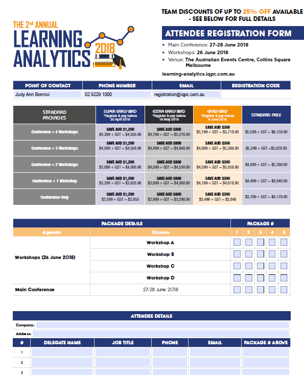 Learning Analytics 2018 Registration Form