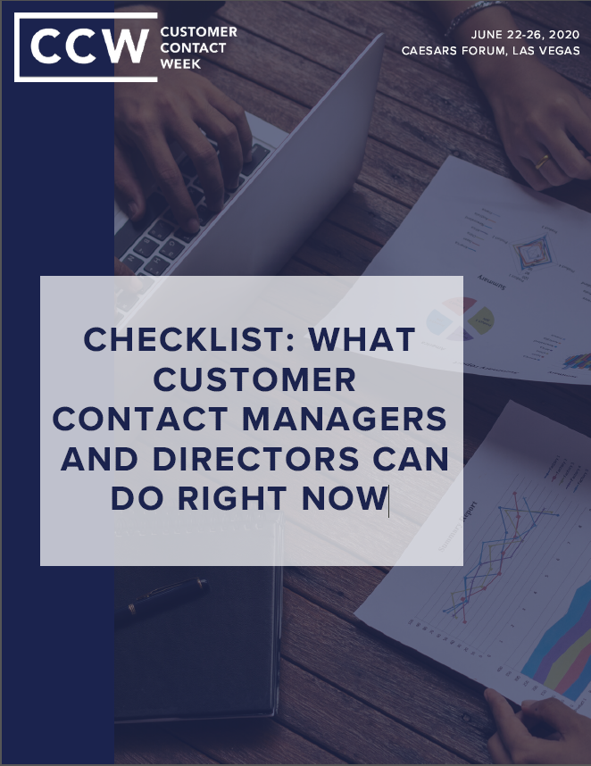 Checklist: What Customer Contact Managers And Directors Can Do Right Now