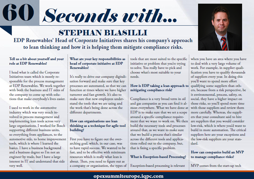 60 Seconds with Stephan Blasilli - Lean Thinking to Mitigate Compliance Risks at EDP Renewables