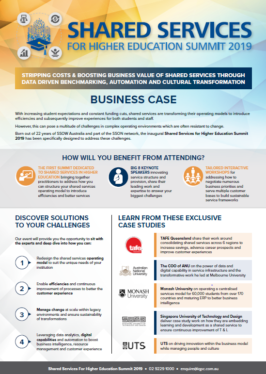 Business Case | Shared Services for Higher Education Summit 2019