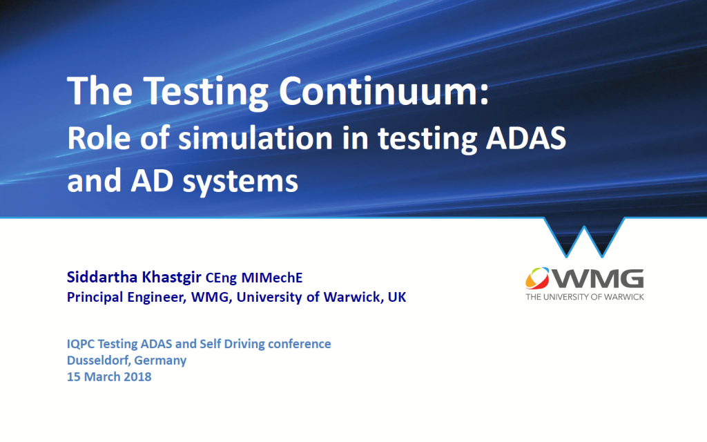 Role of Simulation in Testing ADAS and AD Systems