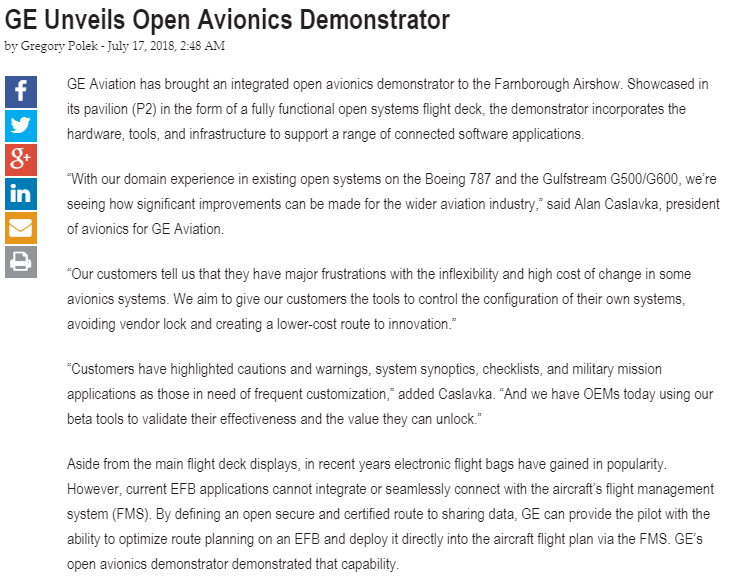 GE Unveils Open Avionics Demonstrator