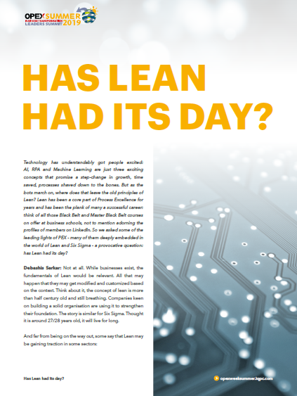 OPEX Summer | Lean Interview - Has Lean Had it's Day?
