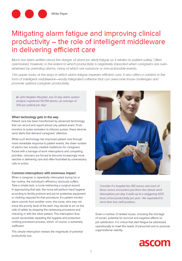 Mitigating alarm fatigue and improving clinical productivity – the role of intelligent middleware in delivering efficient care