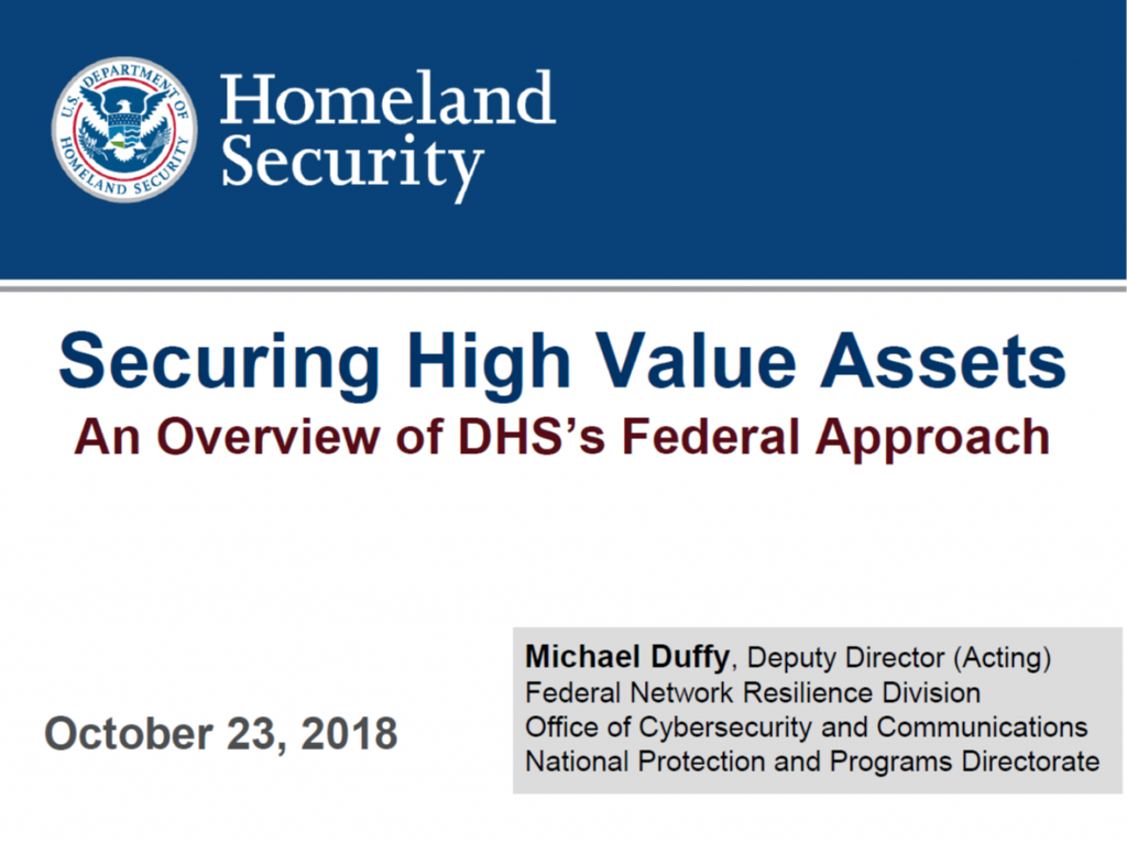 DHS's Priorities for Securing High-Value Assets Across the Government