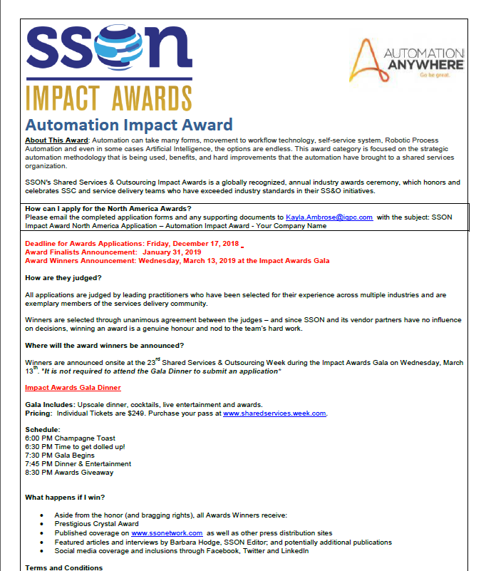SSOW 2019 Automation Impact Award Application