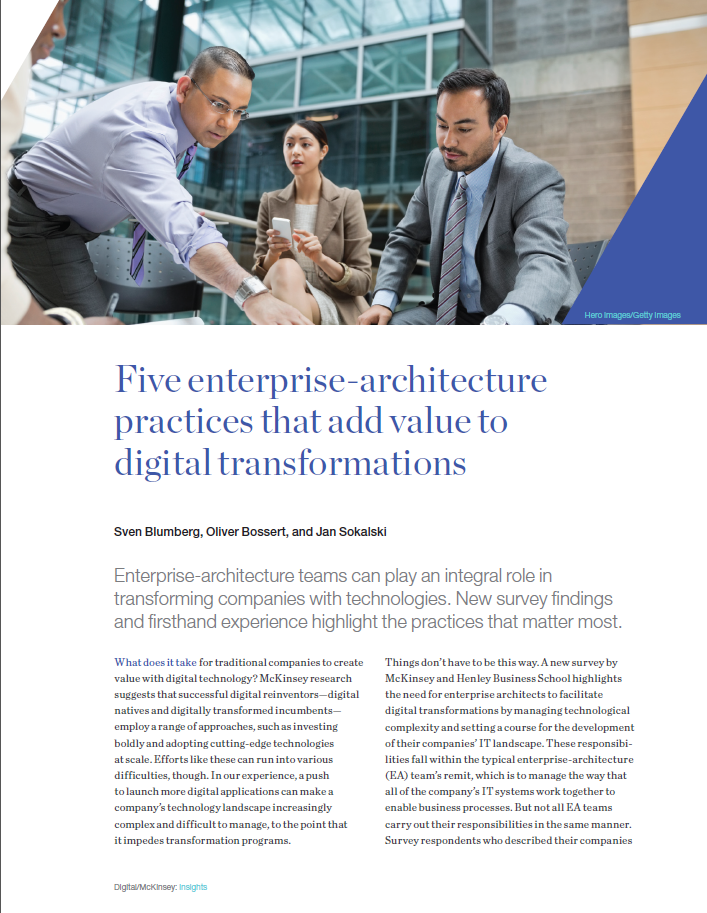 Five enterprise-architecture practices that add value to digital transformations
