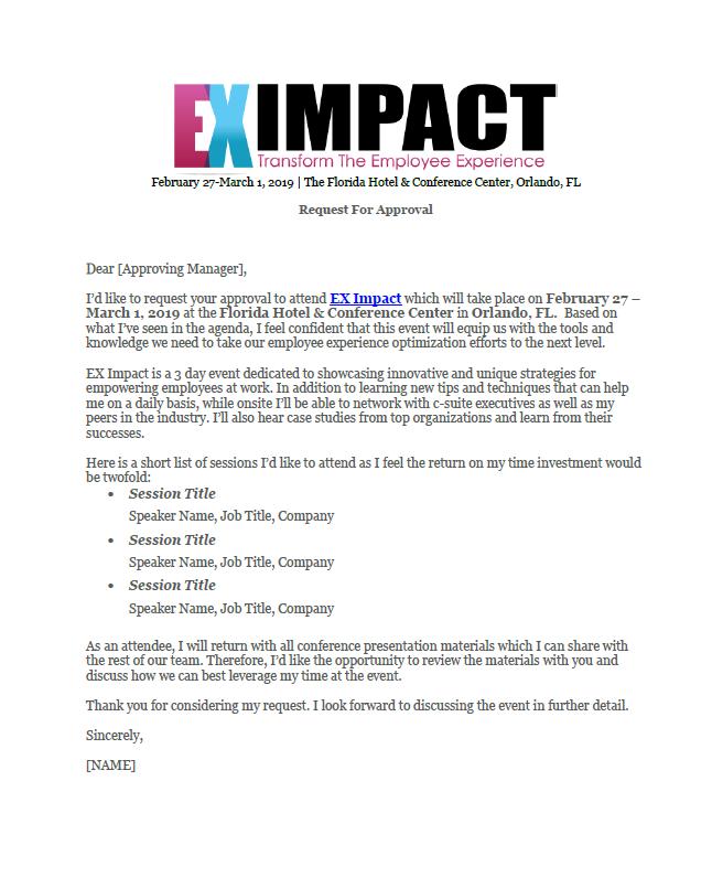 Dear Boss Letter: EX Impact 2019