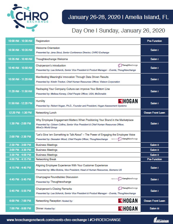 2020 CHRO Exchange Agenda