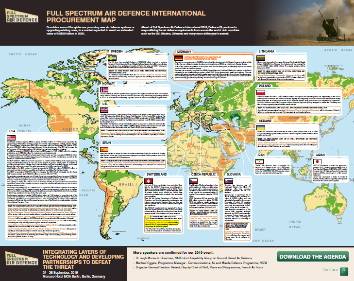 2019 Global Air Defence Programmes and Requirements map