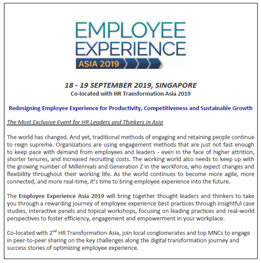 Download Employee Experience Asia Preliminary Agenda