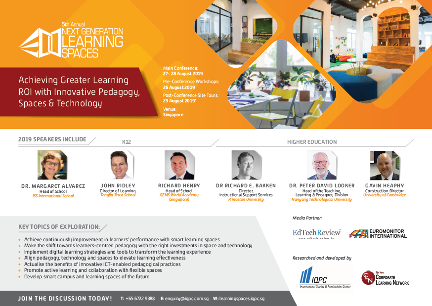 View the full event outline for 5th Annual Next Generation Learning Spaces