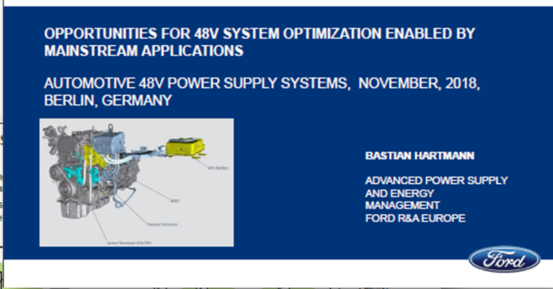 Ford Presentation on Opportunities for 48V System Optimization Enabled by Mainstream Applications