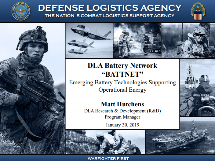 "DLA Battery Network ""BATTNET"": Emerging Battery Technologies Supporting Operational Energy"
