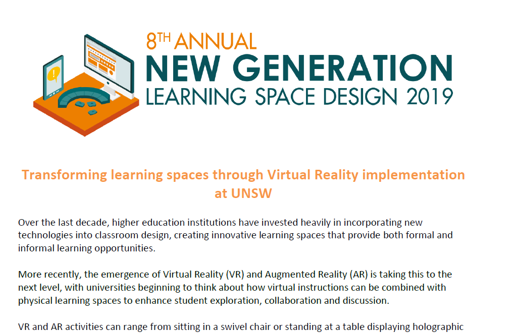 UNSW: Transforming learning spaces through Virtual Reality implementation