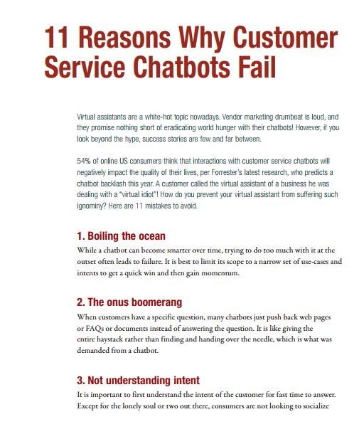 11 Reasons Why Customer Service Chatbots Fail