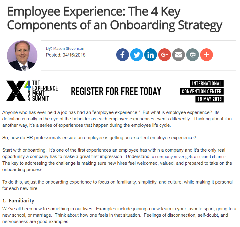 Employee Experience: The 4 Key Components of an Onboarding Strategy