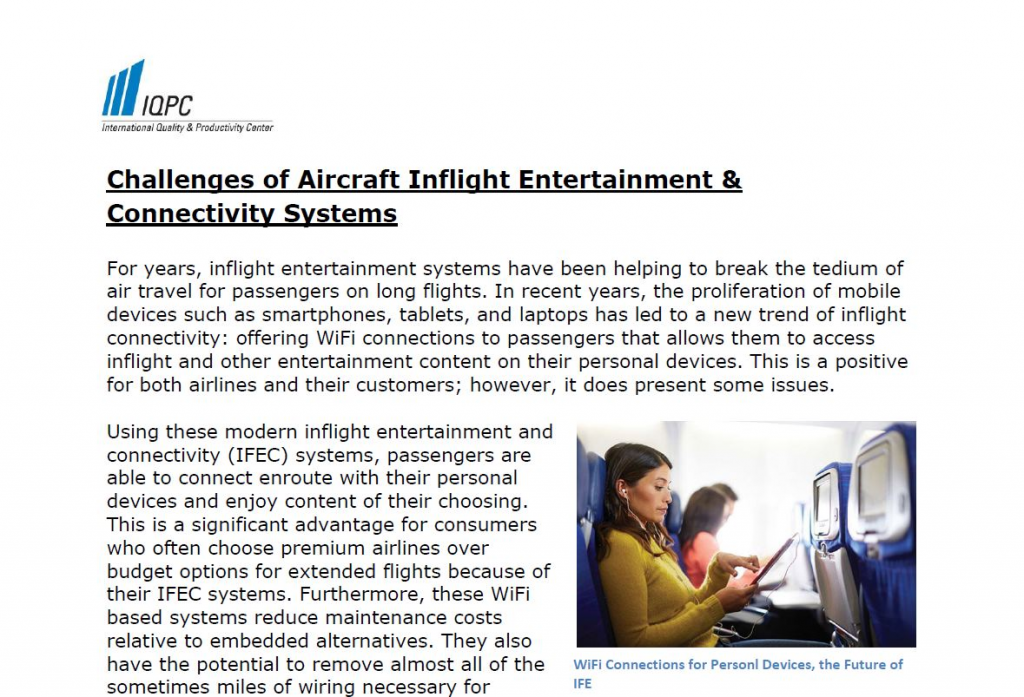 Challenges of Aircraft Inflight Entertainment & Connectivity Systems