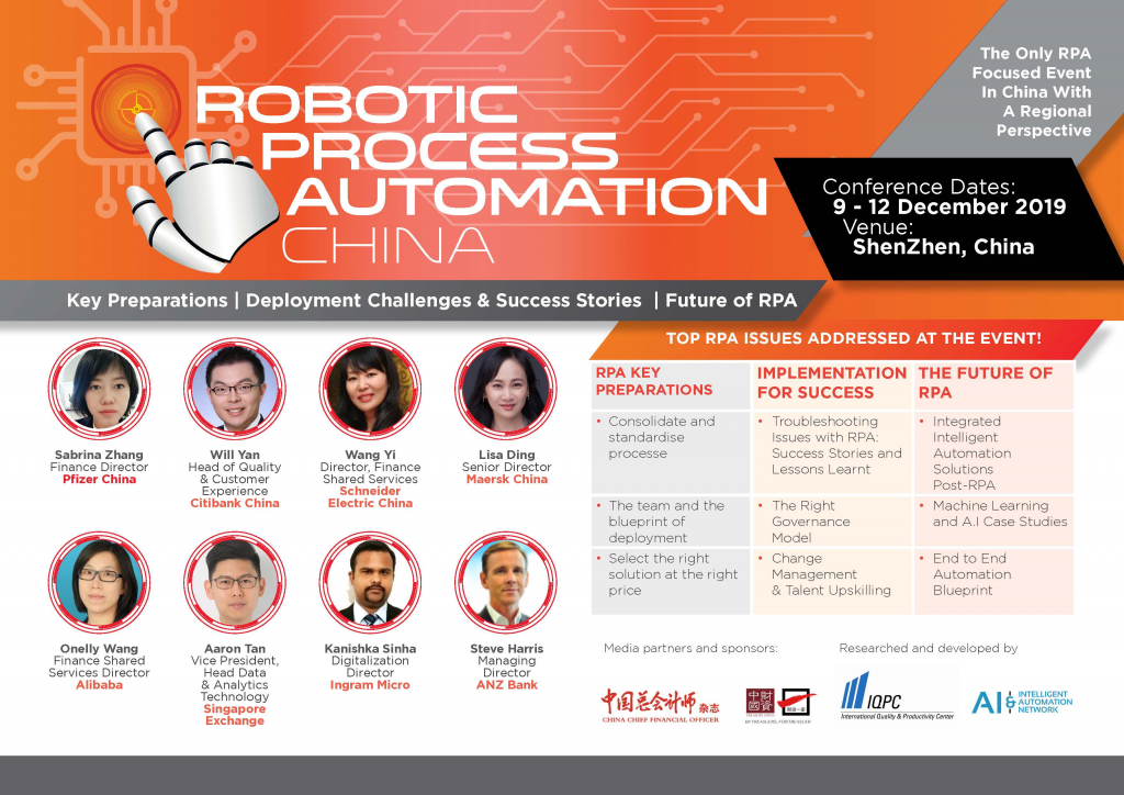 View the full agenda - Robotic Process Automation China Summit 2019