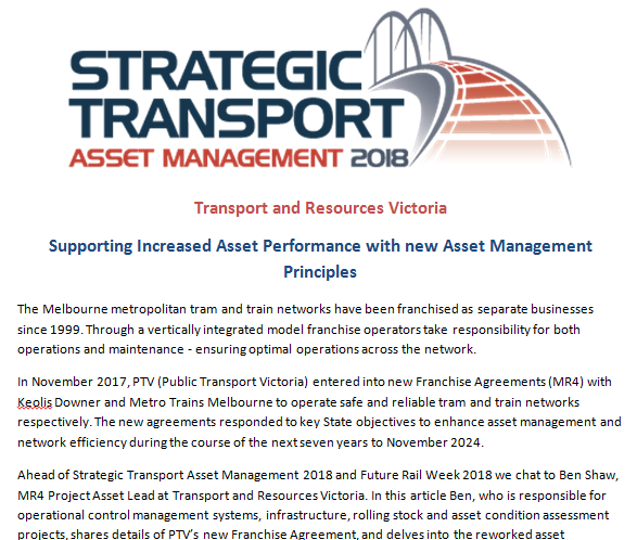 Supporting Increased Asset Performance with new Asset Management Principles