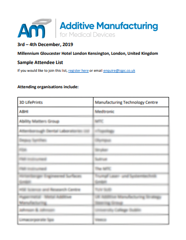 Sample Attendee List - Additive Manufacturing for Medical Devices