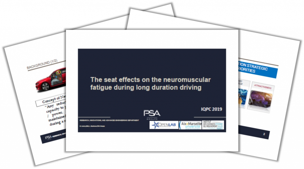 PSA Groupe Presentation on The Seat Effects on the Neuromuscular Fatigue during Long Duration Driving