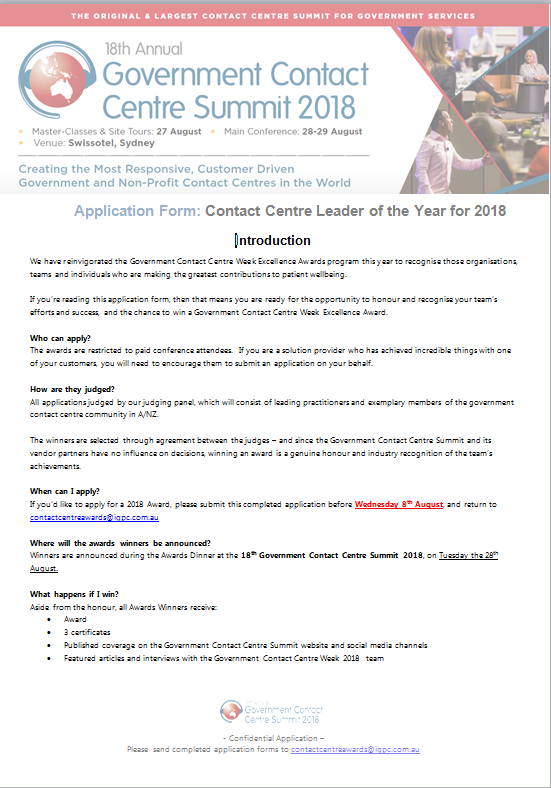 GovCC Awards: Contact Centre Leader of the Year for 2018