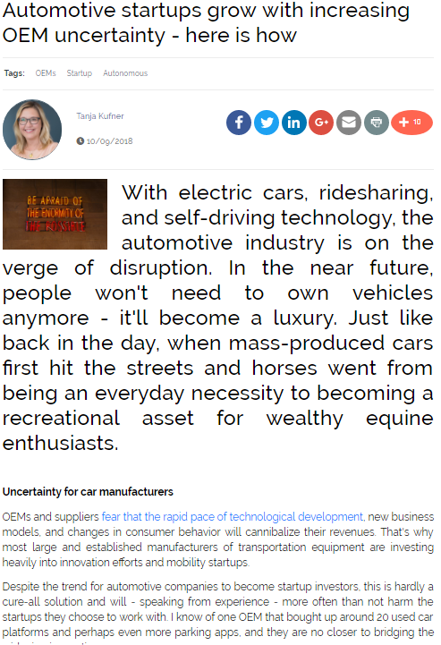 Automotive Startups Grow with Increasing OEM Uncertainty - Here's How