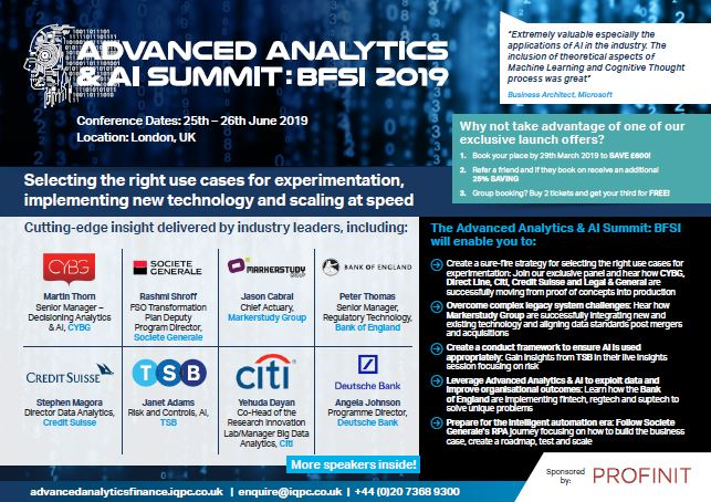 Advanced Analytics & AI Summit: BFSI: Latest Agenda