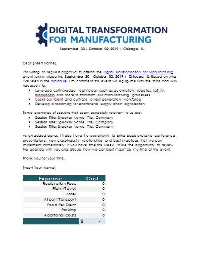 Dear Boss Letter + Attendee ROI Calculator