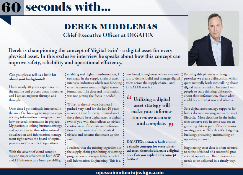 60 Seconds with Derek Middlemas: Chief Executive Officer at DIGATEX