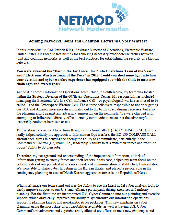 Joining Networks: Joint and Coalition Tactics in Cyber Warfare