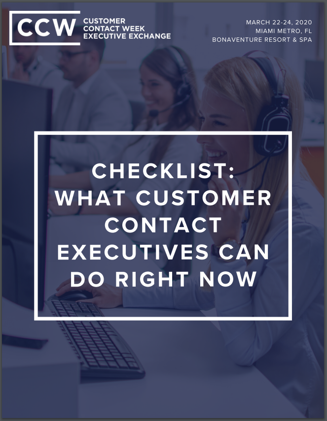 Checklist: What Customer Contact Executives Can Do Right Now