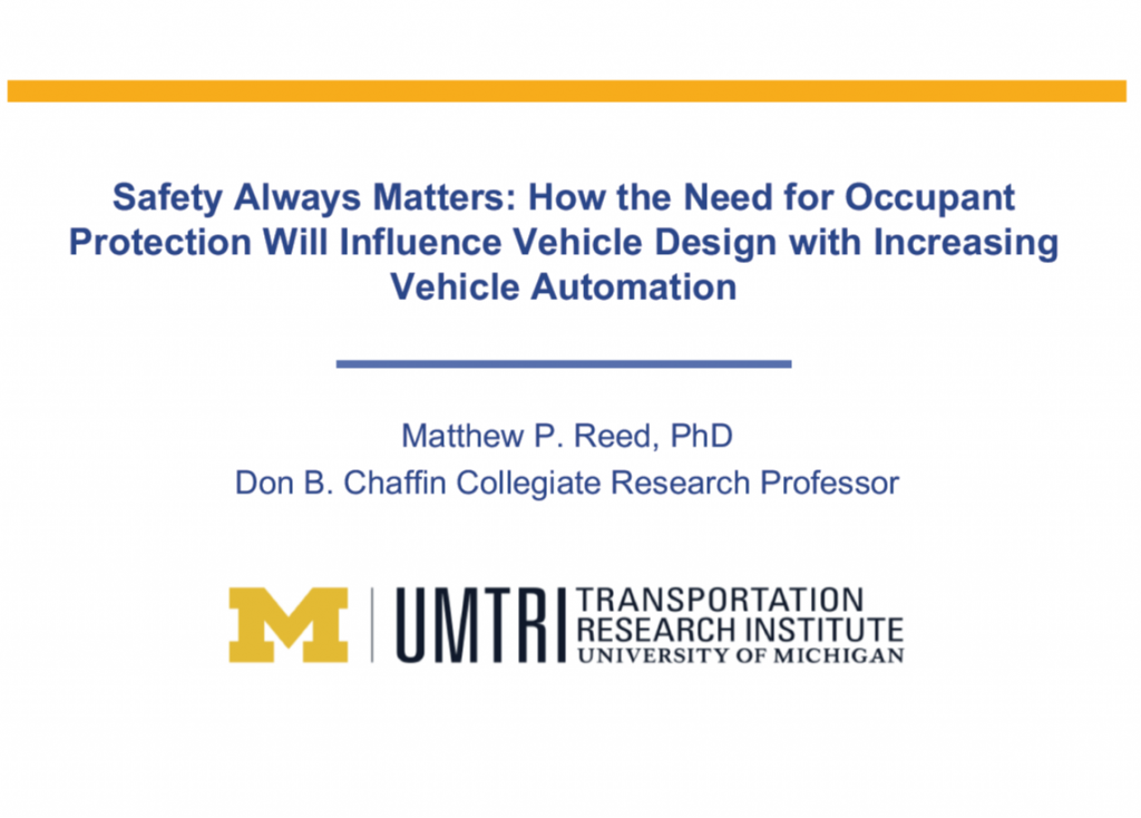 Safety Always Matters: How the Need for Occupant Protection Will Influence Interior Design with Increasing Vehicle Automation