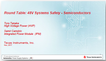 Presentation on 48V Systems Safety for Semiconductors