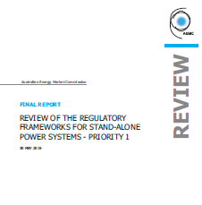 Review of the regulatory frameworks for stand-alone power systems