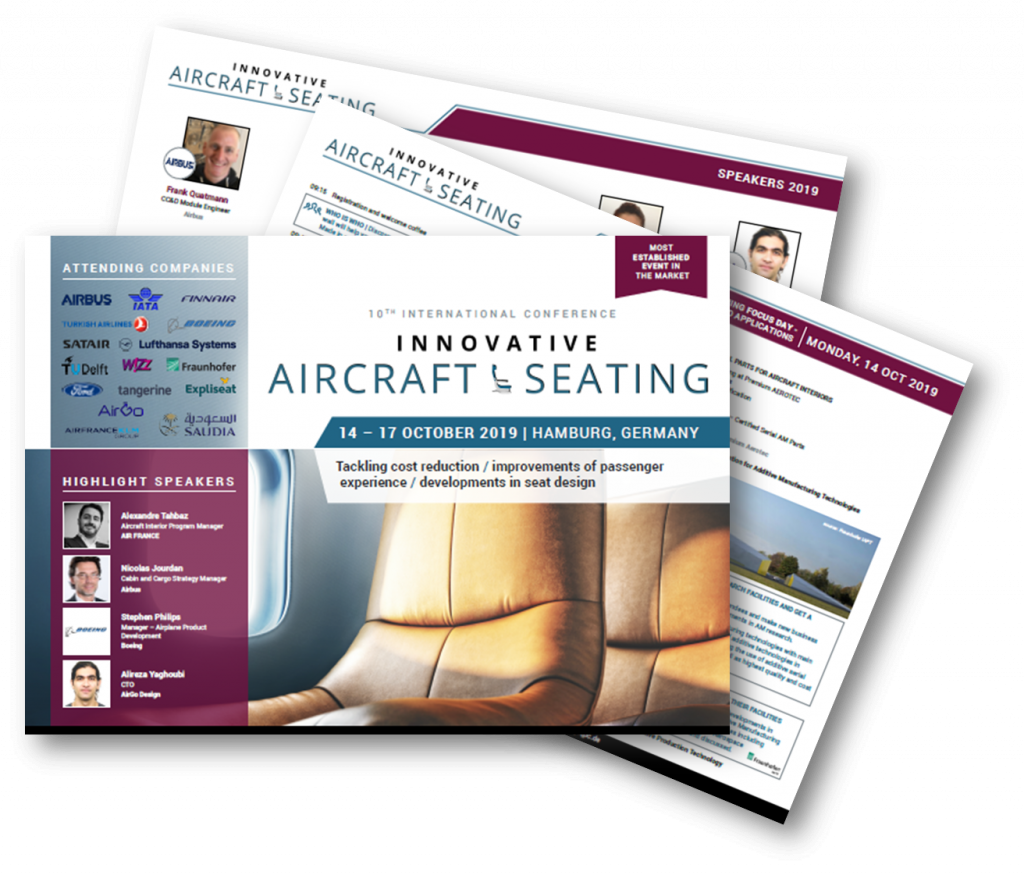 Agenda for the 10th International Innovative Aircraft Seating Conference 2019!