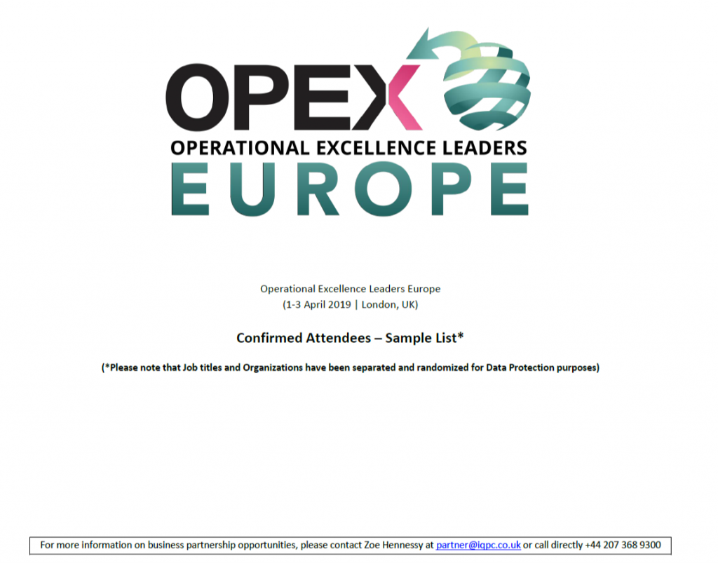 OPEX Leaders Europe 2019 - spex - Sample list of attendees