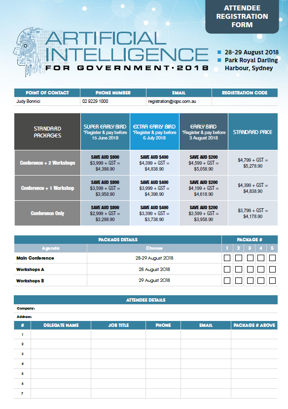 Artificial Intelligence for Government 2018 Registration Form