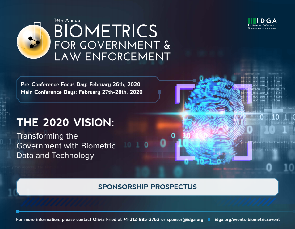 Biometrics for Government & Law Enforcement - 2020 Sponsorship Prospectus