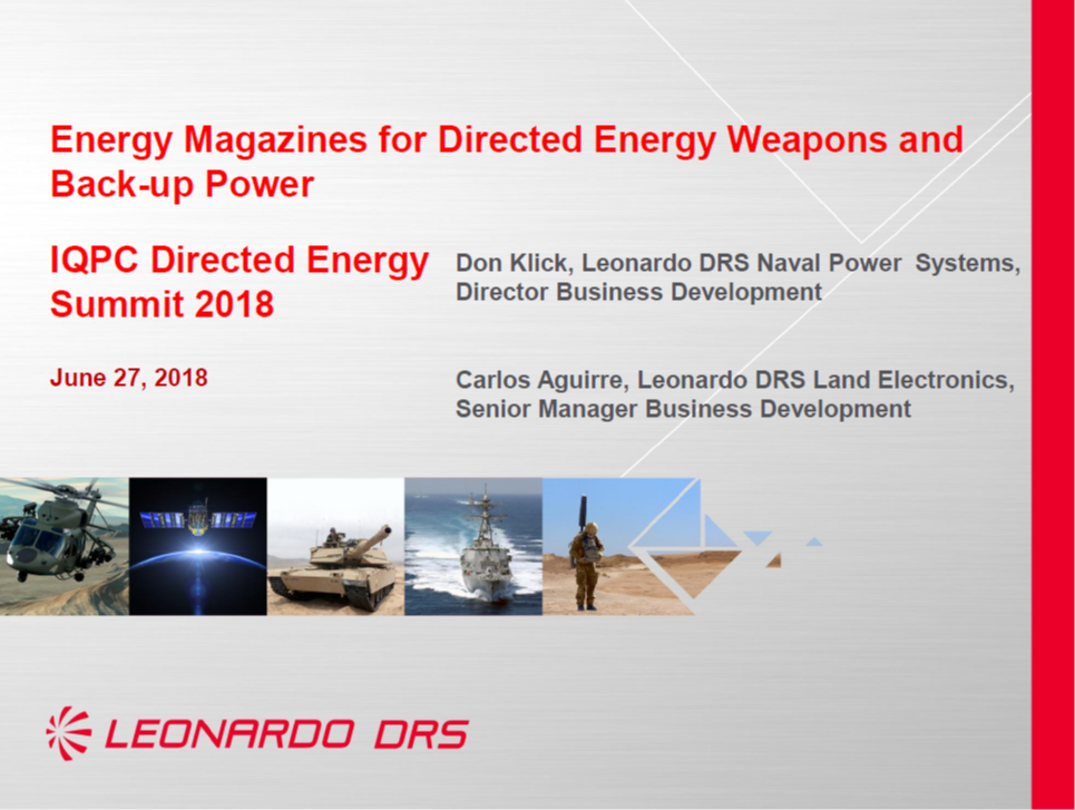 Energy Magazines for Directed Energy Weapons and Back-up Power