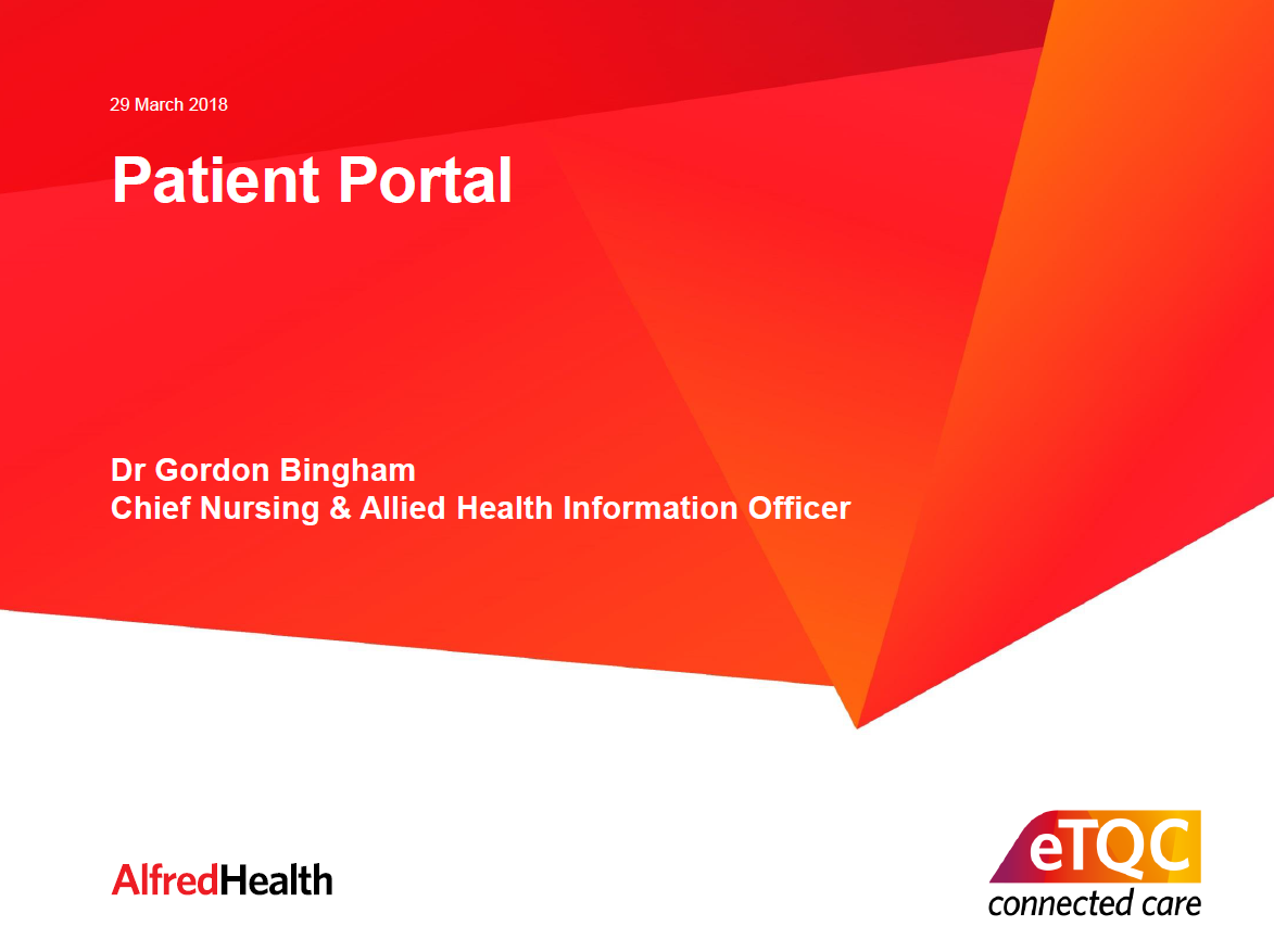 Alfred Health's EMR Portal and Their Implementation Journey