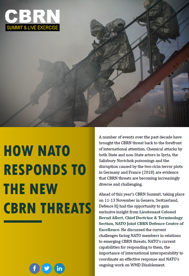 How NATO responds to the new CBRN threats