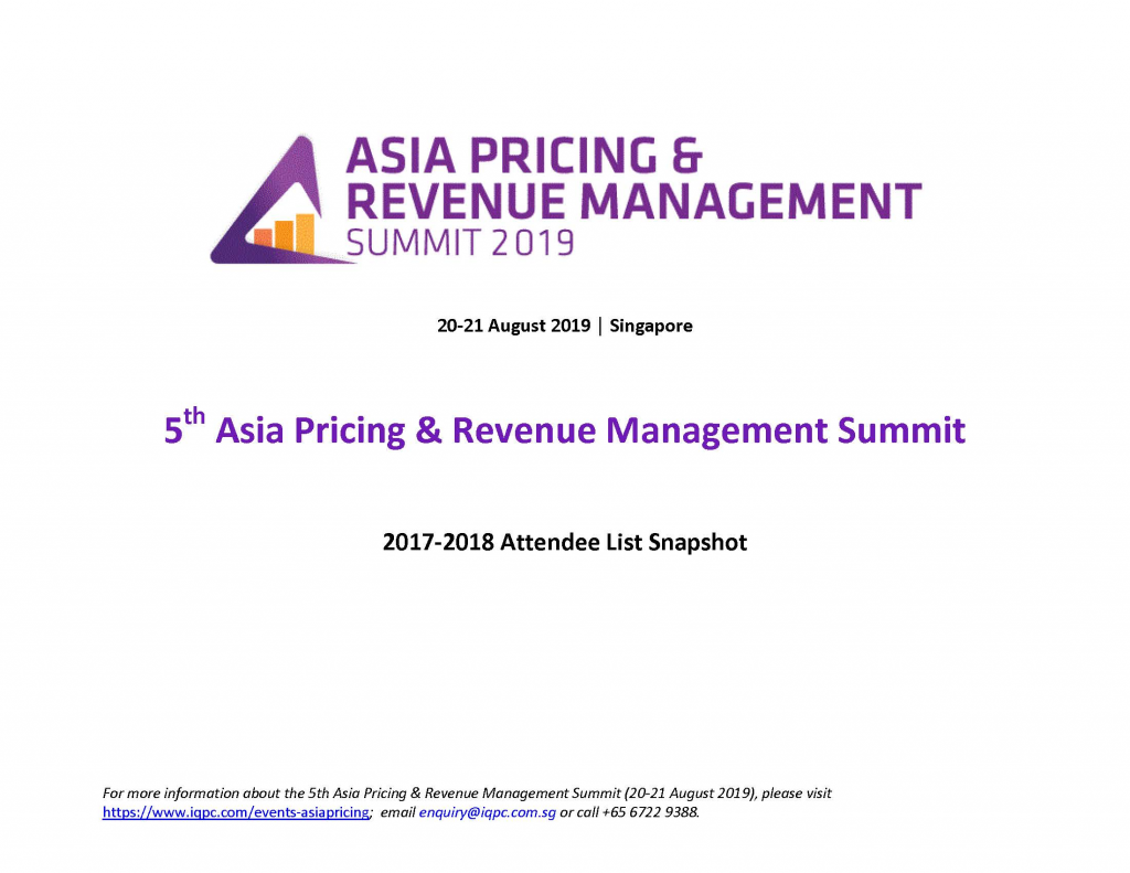 Asia Pricing & Revenue Management Summit - 2017-2018 Attendee List