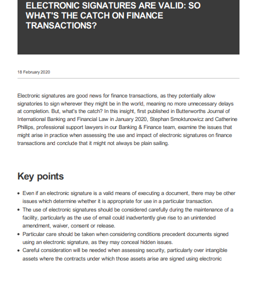 Electronic Signatures are Valid: So What's the Catch on Finance Transactions?