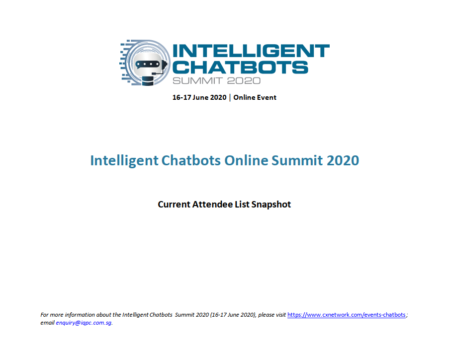Intelligent Chatbots 2020 Online Event - Current Attendee List Snapshot