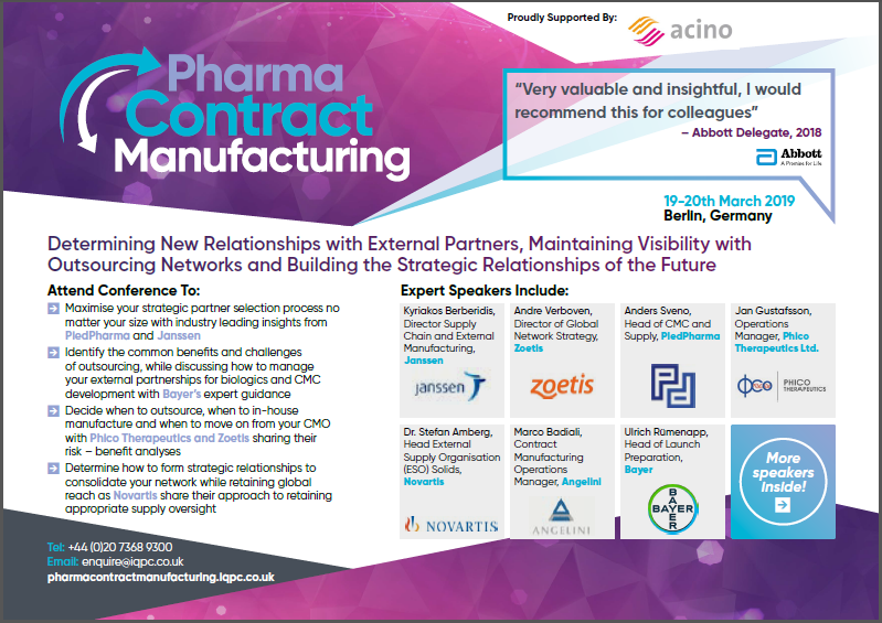 Pharma Contract Manufacturing 2019 Agenda