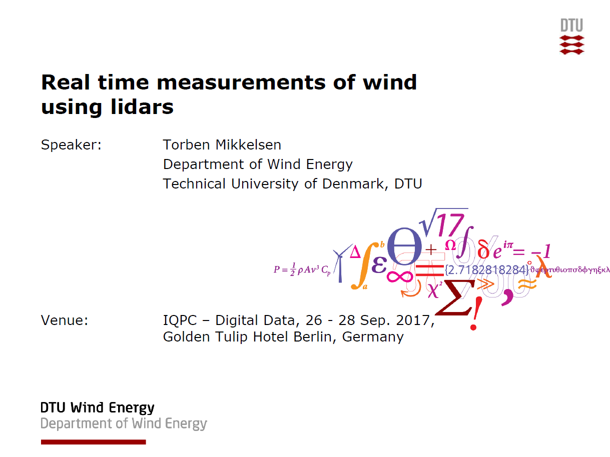 Presentation on Real Time Measurements of Wind Using Lidars