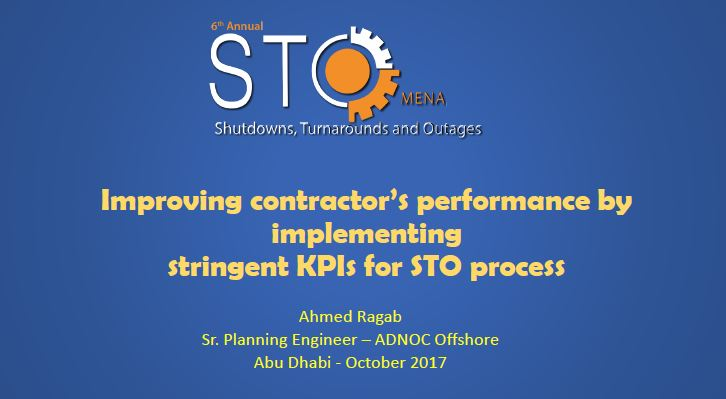 Complimentary Presentation: Improving contractor's performance by implementing KPI's in the STO process