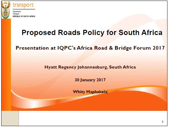 Proposed roads policy for South Africa by Whity Maphakela